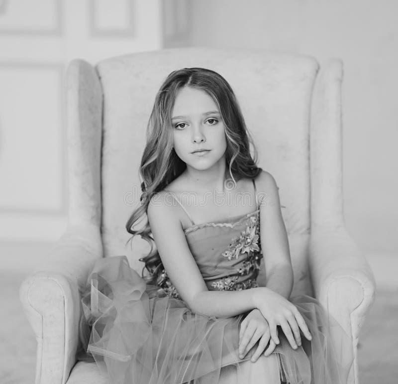 Monochrome portrait little girl royalty free stock photo