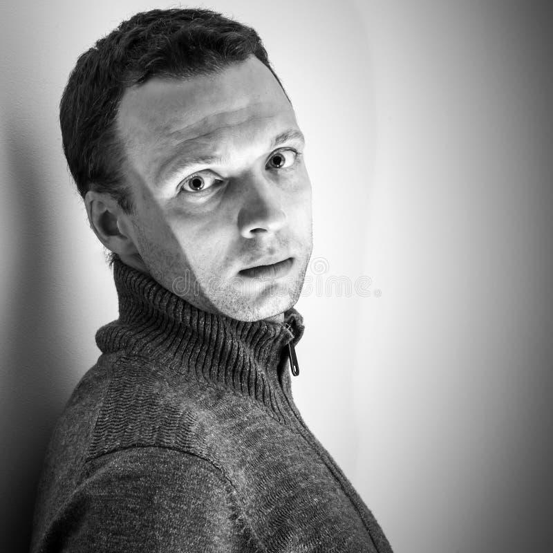 Monochrome Portrait Of Young Caucasian Man Stock Photo
