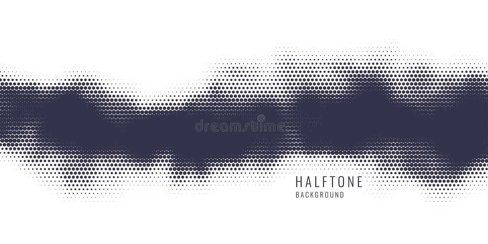 Monochrome printing raster, abstract vector halftone background. Black and white texture of dots. royalty free illustration