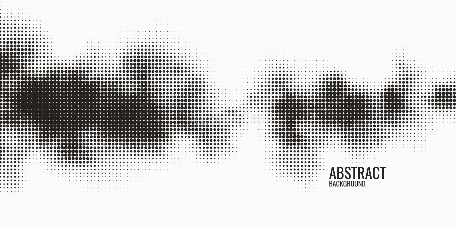 Monochrome printing raster, abstract vector halftone background. Black and white texture of dots. Monochrome printing raster. Abstract vector halftone stock illustration