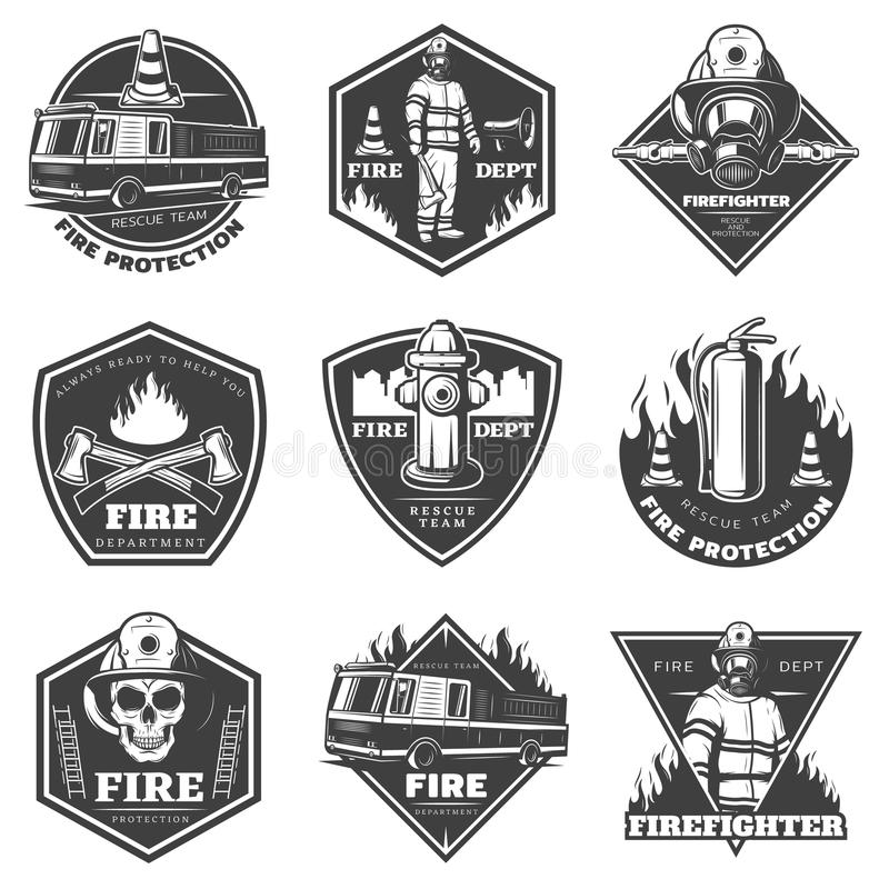Monochrome Professional Firefighting Labels Set stock illustration