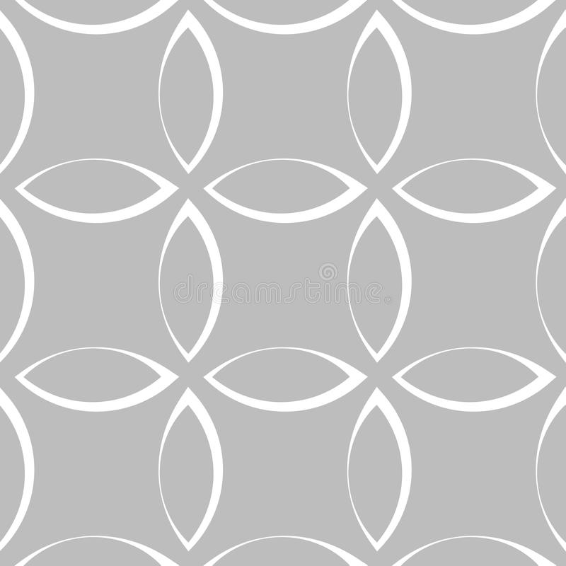 Monochrome repetitive pattern with petal / flower / leaf shapes. royalty free illustration