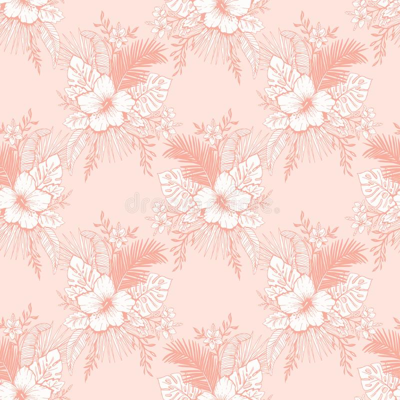 Monochrome Vintage Coral Tropical Exotic Foliage and Hibiscus Floral Vector Seamless Pattern. Line Drawing Background. stock illustration
