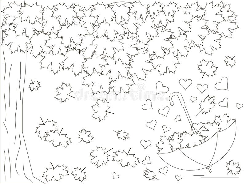 Monochrome romantic background with maple tree, inverted umbrella, hearts, falling maple leaves coloring book. Anti stress stock vector illustration vector illustration