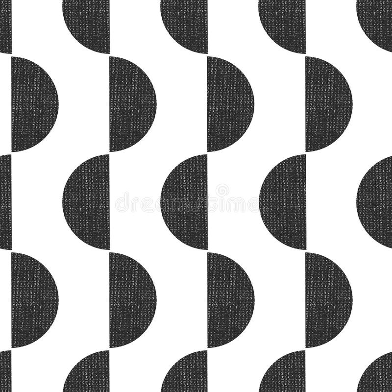 Monochrome screen print style seamless geometric vector pattern semicircles vertical with grunge texture. Abstract Art.  stock illustration