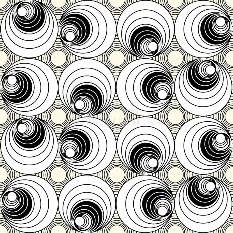 Monochrome seamless background with circle shapes in op-art style, simple rotating geometric shapes vector illustration