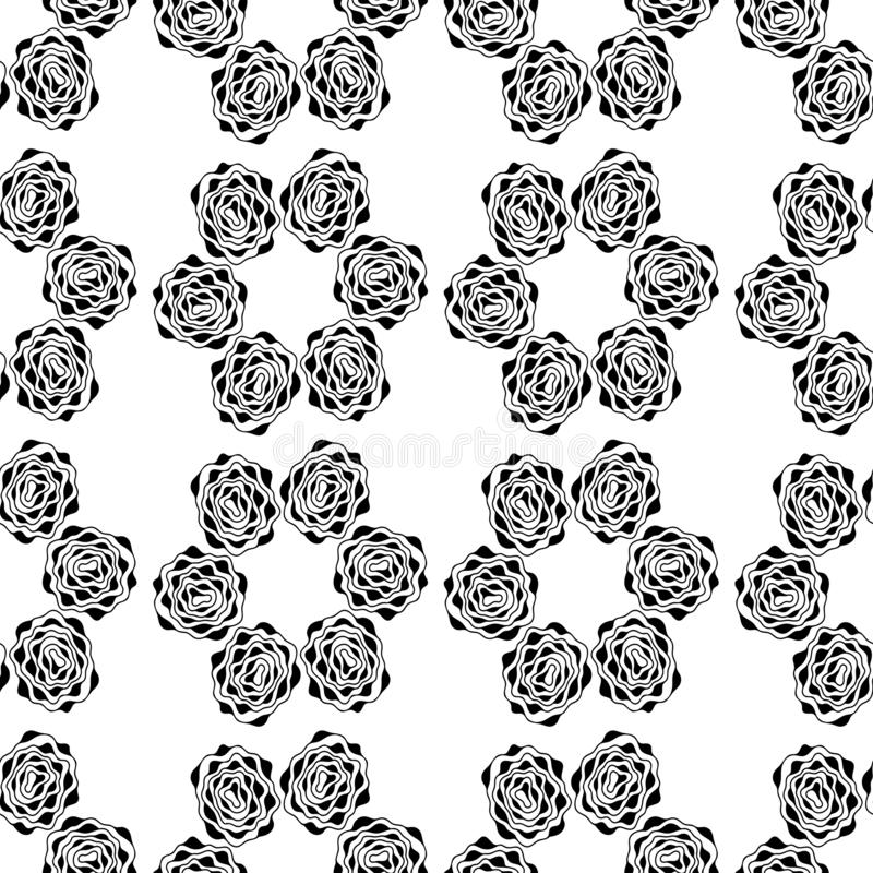 Monochrome seamless background. Simple flat floral motif . Suitable for fabrics. Vector outlines and silhouettes.  stock photo