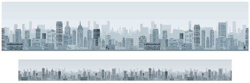 Monochrome Seamless Cityscape Banner Background. Monochrome Seamless Cityscape. Wide Banner Background. Skyline Vector royalty free illustration