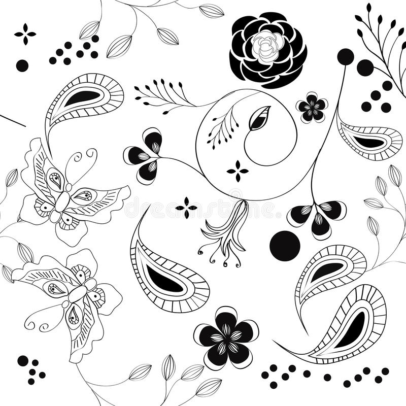 Monochrome seamless pattern stock photo