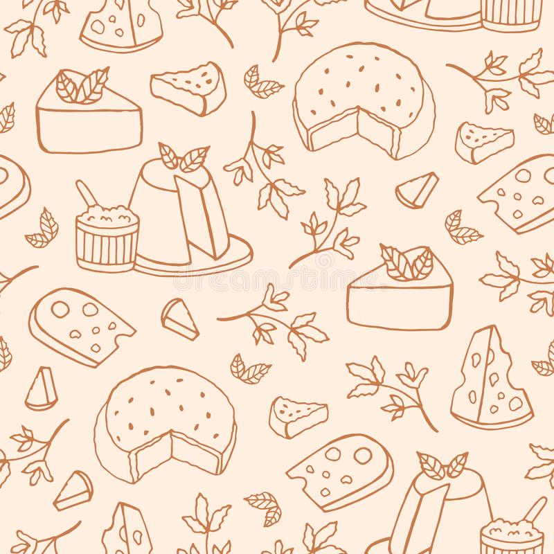 Monochrome seamless pattern with cheese of different kinds - ricotta, roquefort, brie, maasdam. Backdrop with delicious vector illustration