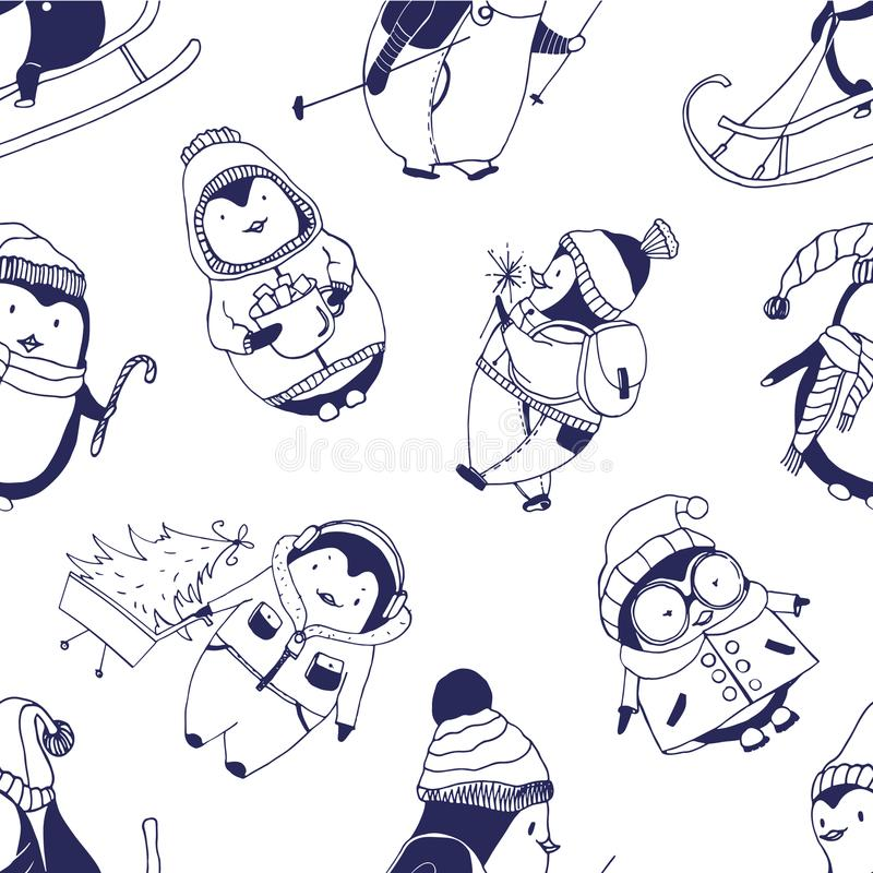 Monochrome seamless pattern with cute baby penguins dressed in various winter clothes on white background. Funny cartoon royalty free illustration