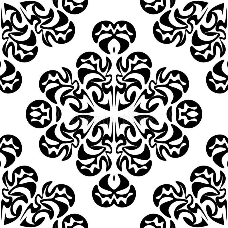 Monochrome seamless pattern in damascus style. Original hand drawn ornament.  royalty free illustration