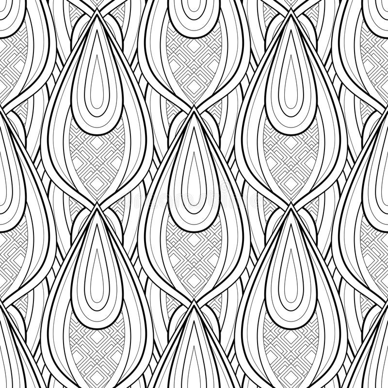 Monochrome Seamless Pattern with Ethnic Motifs stock illustration