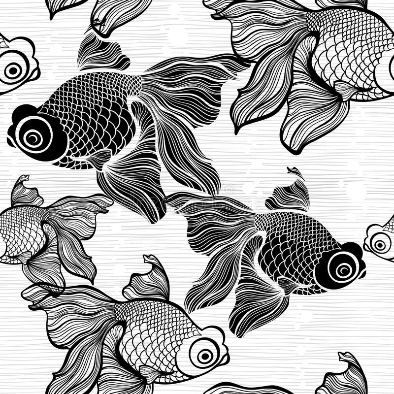 Monochrome seamless pattern with fish. Black and white il stock illustration