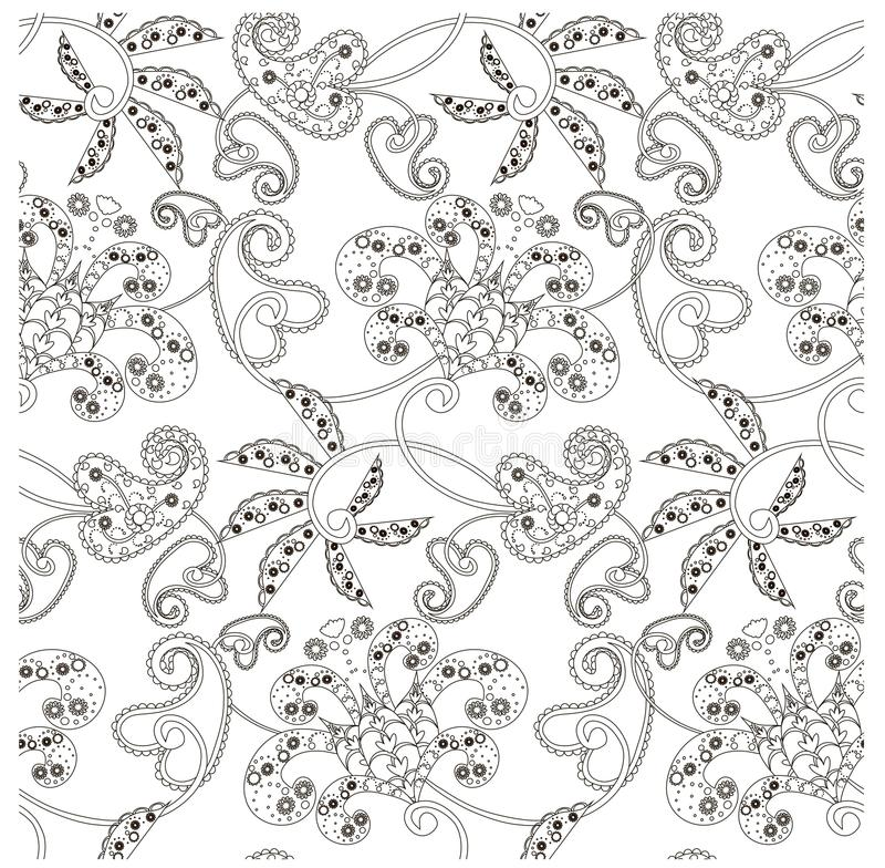 Monochrome seamless pattern with flowers, paisley, stock vector illustration royalty free illustration