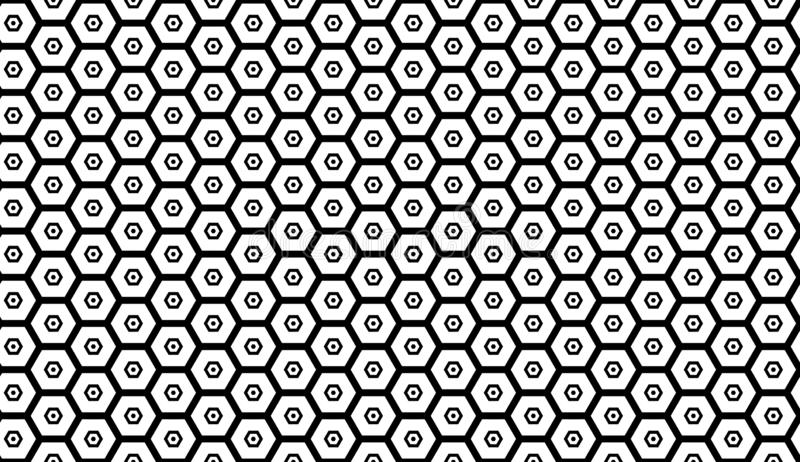 Monochrome seamless pattern with hexagons, honeycombs. Repetitive vector illustration royalty free illustration