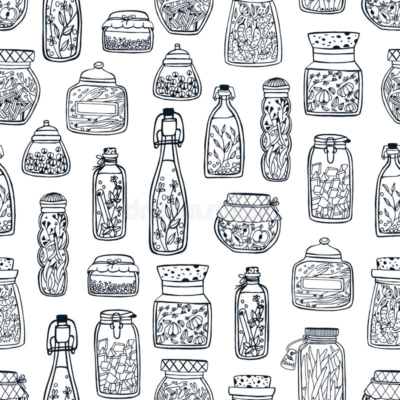 Monochrome seamless pattern with homemade preserves in glass jars and bottles hand drawn with black contour lines on. White background. Vector illustration for stock illustration