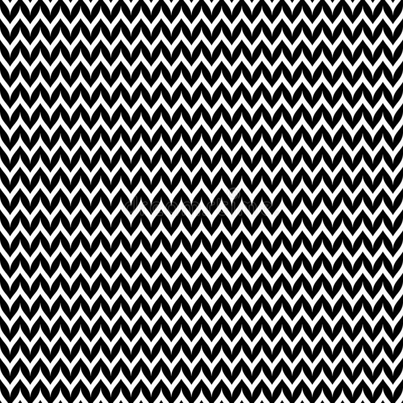 Monochrome seamless pattern, horizontal smooth zigzag lines. Vector monochrome pattern, abstract geometric seamless texture with black & white smooth zigzag stock illustration