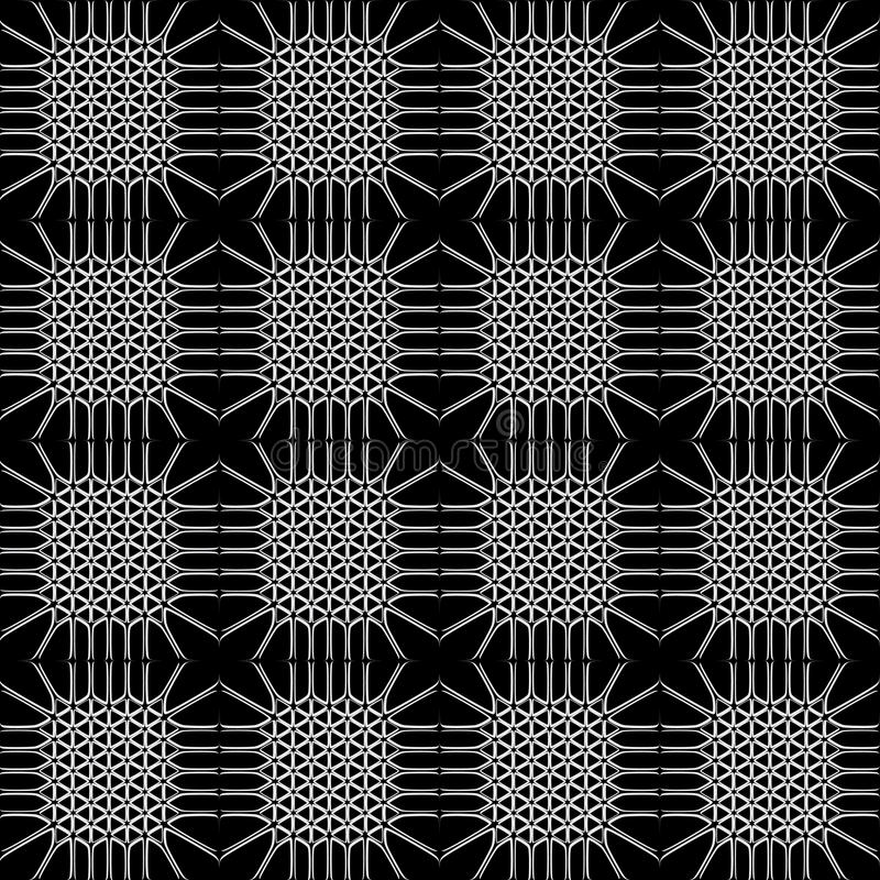 Monochrome seamless pattern with interesting lattice. Is duo-tone, monochrome, two-color, bi-color. May be useful for print, fabric, wrapping, packing, tapestry stock illustration