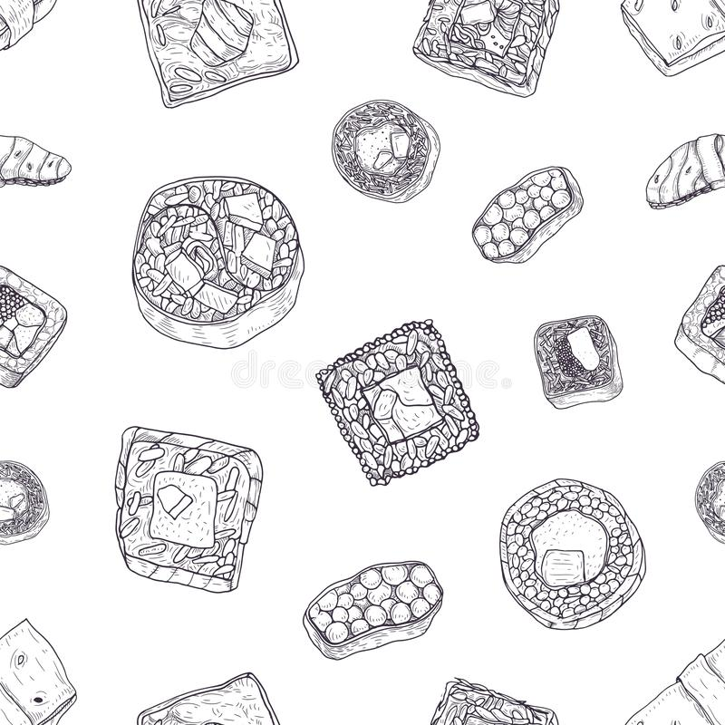 Monochrome seamless pattern with maki and nigiri sushi, sashimi, rolls hand drawn with contour lines on white background. Backdrop with Japanese food stock illustration