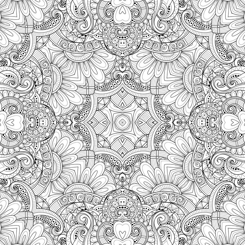 Download Monochrome Seamless Pattern With Mosaic Floral Motif Stock Vector