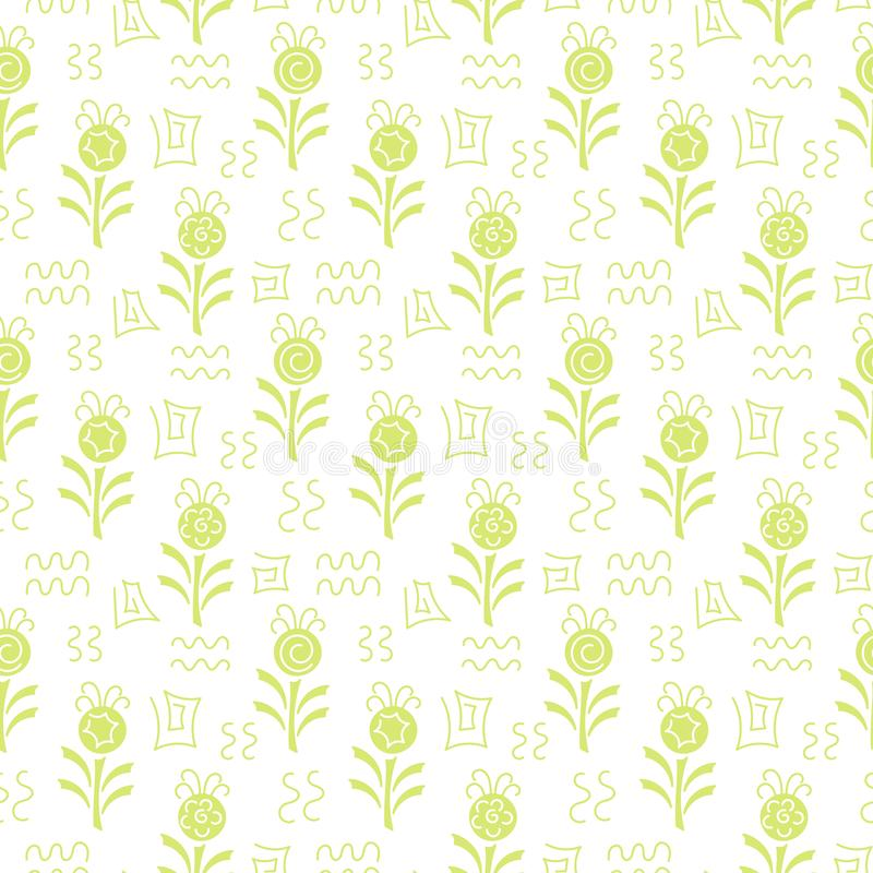 Monochrome. Seamless pattern. Simple flat floral motif . Suitable for fabrics, Wallpapers, album covers, phone cases Vector royalty free illustration