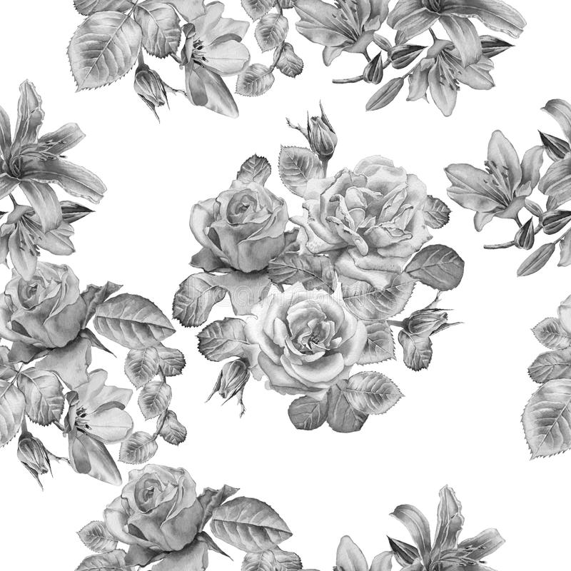 Monochrome seamless pattern with spring flowers. Rose. Tulip. Lilia. Watercolor. royalty free illustration