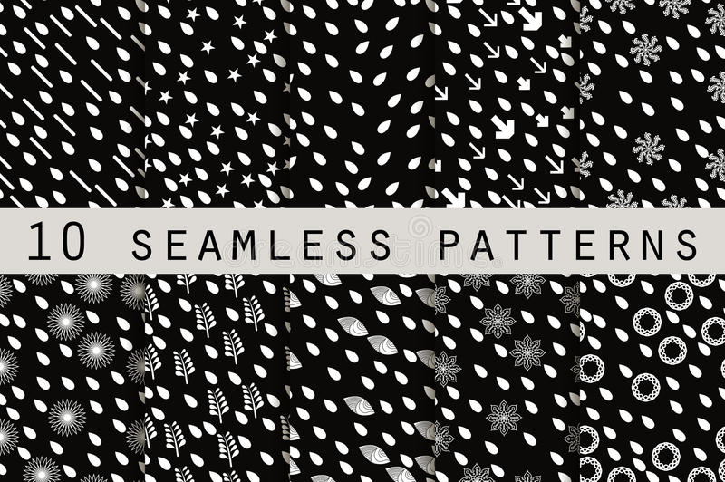 10 monochrome seamless patterns with drops. The pattern for wallpaper, tiles, fabrics and designs. stock illustration