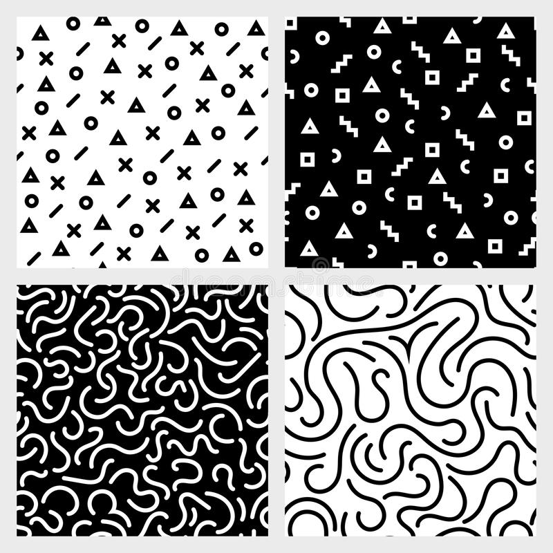 Monochrome seamless patterns vector set with abstract geometric shapes and strokes repetitive backgrounds vector illustration