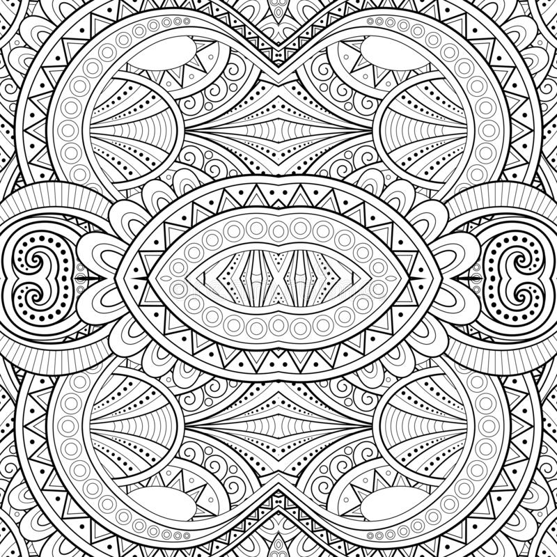 Monochrome Seamless Tile Pattern, Fancy Kaleidoscope. Endless Ethnic Texture with Abstract Design Element. Art Deco, Nouveau, Paisley Garden Style. Coloring royalty free illustration