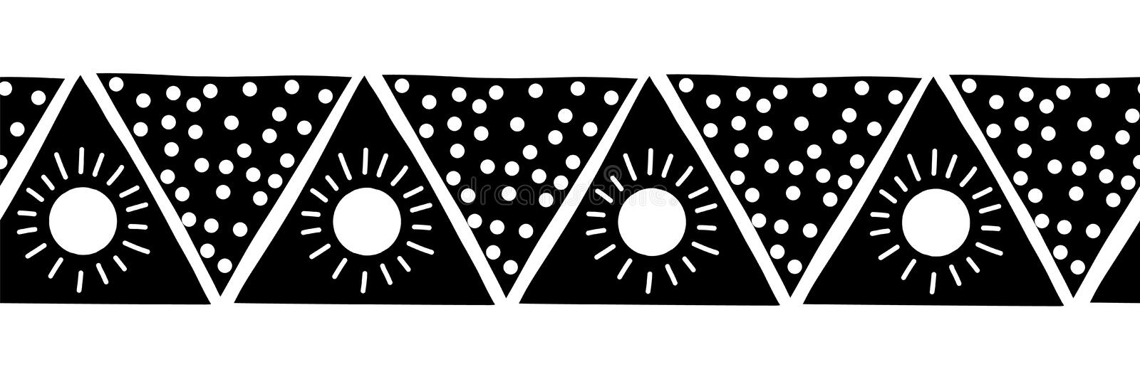 Monochrome seamless vector border triangles. Boho style pattern black and white hand drawn tribal ethnic motifs stock illustration