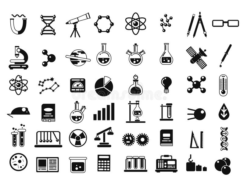 Monochrome set of different chemical symbols and others science icons in flat style. Chemical science laboratory elements. Vector illustration royalty free illustration