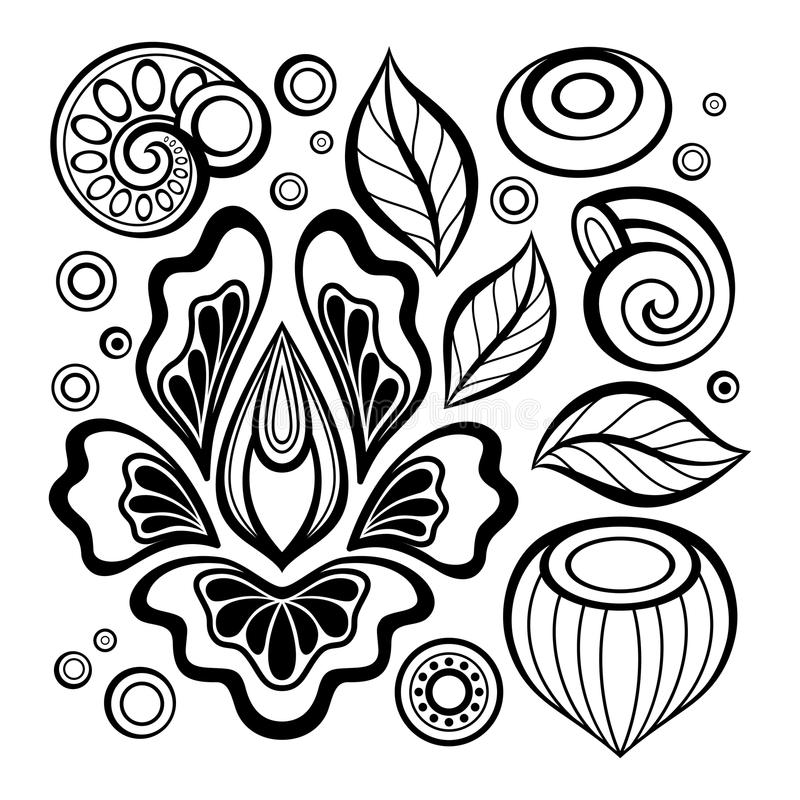 Monochrome Set of Floral Design Elements in Doodle Line Style. Collection of Flowers, Leaves and Swirls. Elegant Natural Motifs. Pressured Printing Template royalty free illustration
