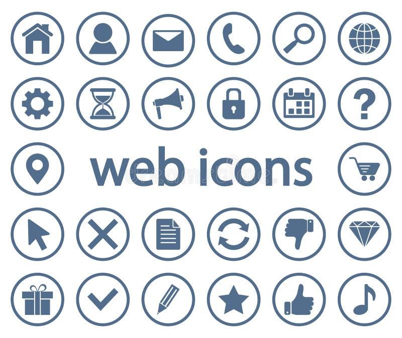 Monochrome set of round web icons. Vector. Illustration royalty free illustration