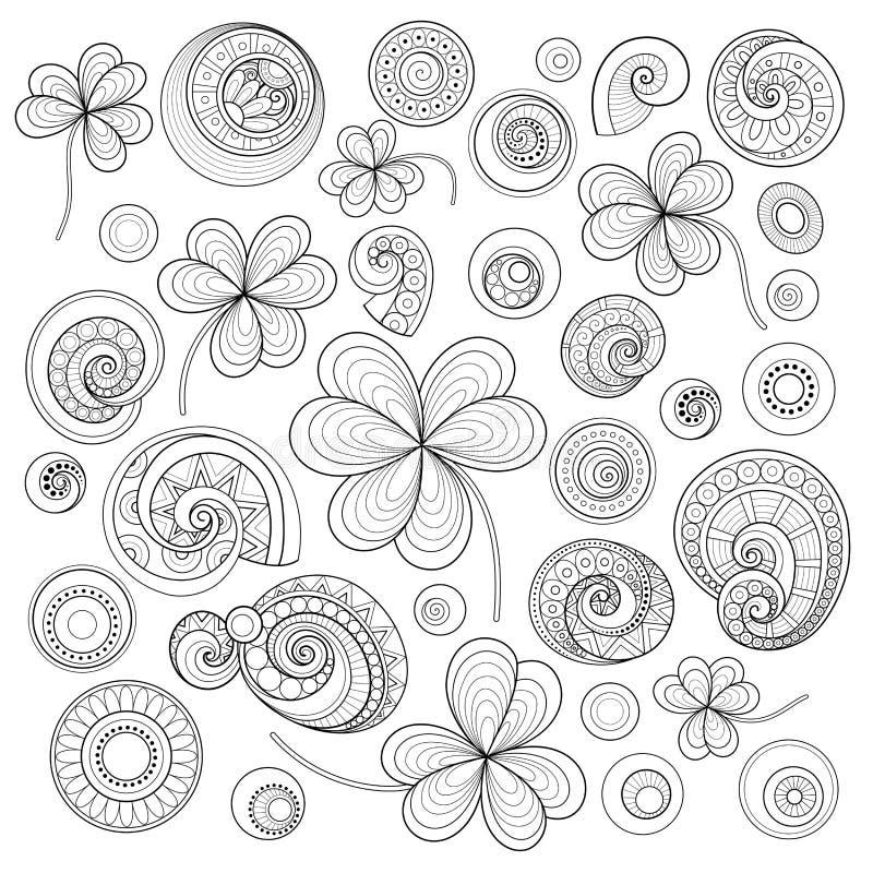 Monochrome Set of St Patrick`s Day Doodles vector illustration