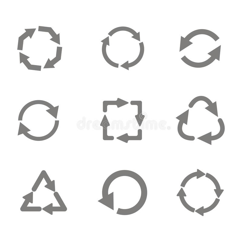 monochrome set with vector recycle icon vector illustration