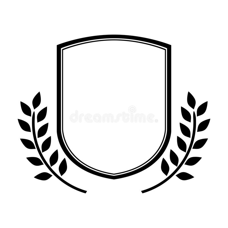 Monochrome shield contour with olive branch anf flags stock illustration