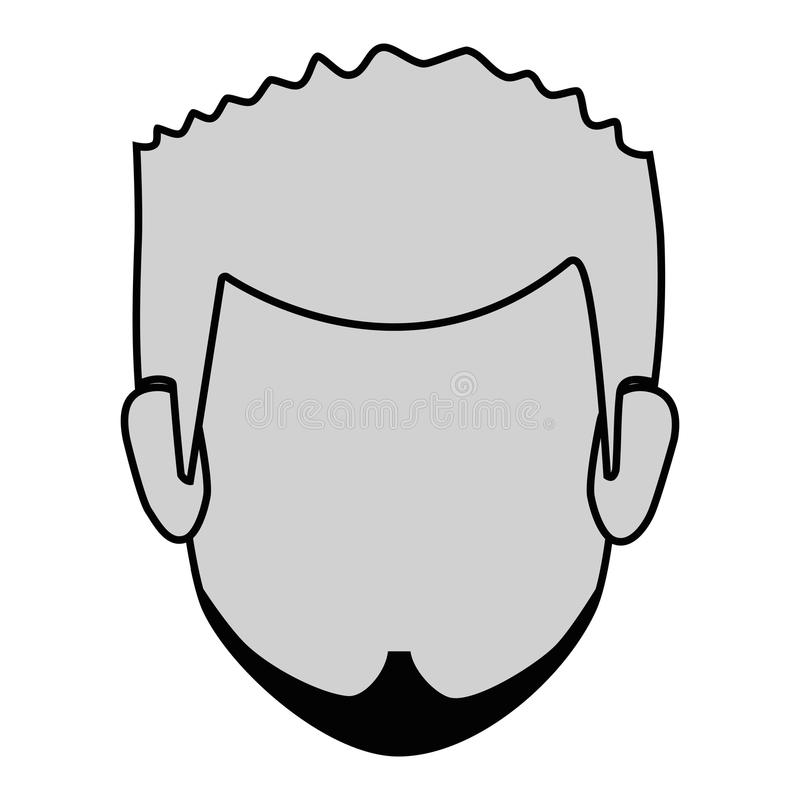 Monochrome silhouette faceless front view man with beard royalty free illustration