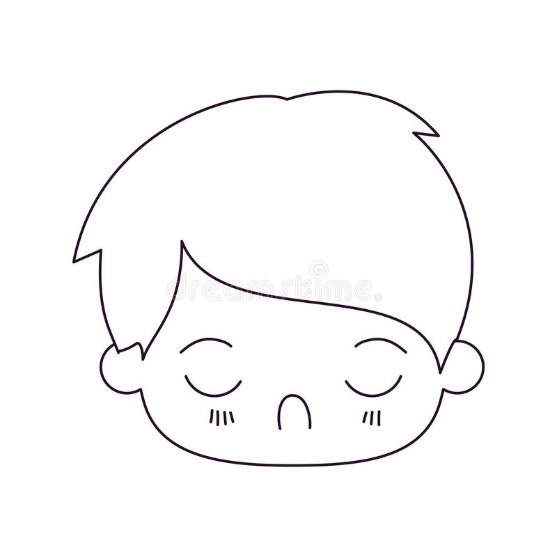 Monochrome silhouette of kawaii head of little boy with facial expression disgust with closed eyes. Vector illustration stock illustration