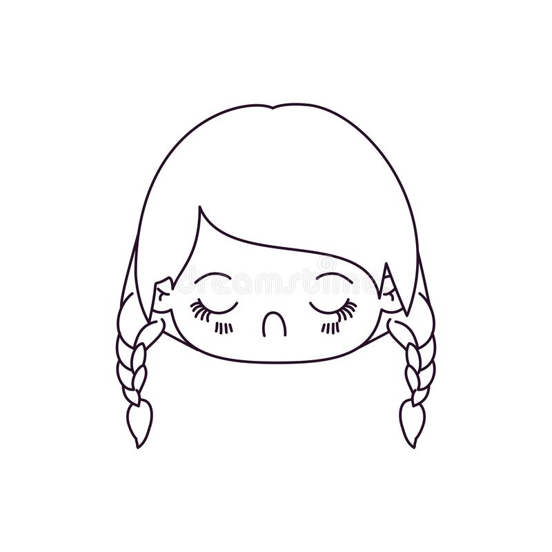 Monochrome silhouette of kawaii head little girl with braided hair and facial expression disgust. Vector illustration vector illustration