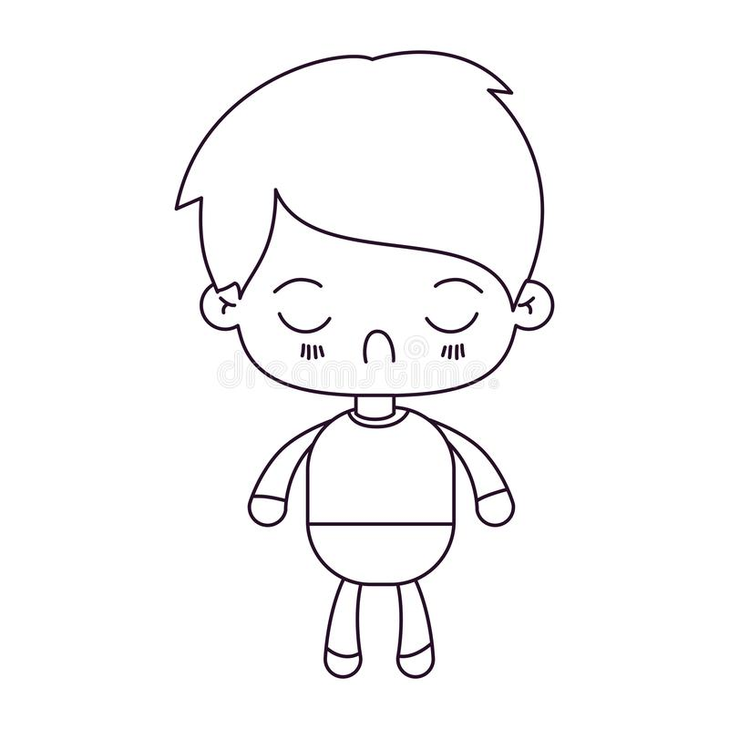 Monochrome silhouette of kawaii little boy with facial expression disgust with closed eyes. Vector illustration royalty free illustration