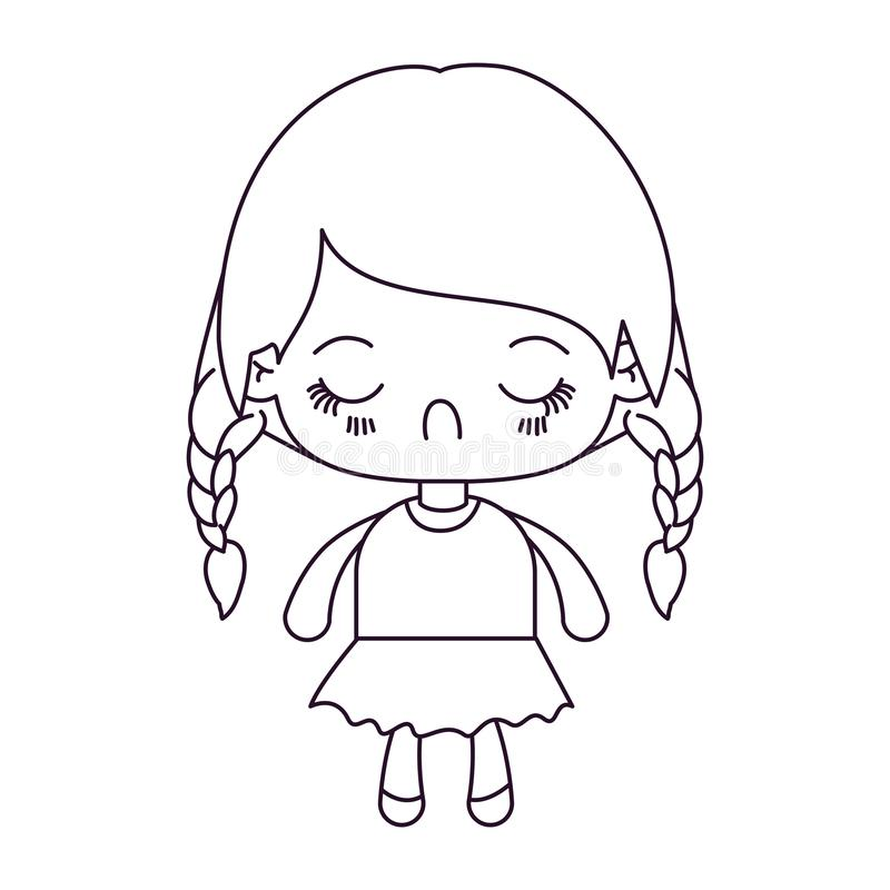 Monochrome silhouette of kawaii little girl with braided hair and facial expression disgust. Vector illustration vector illustration