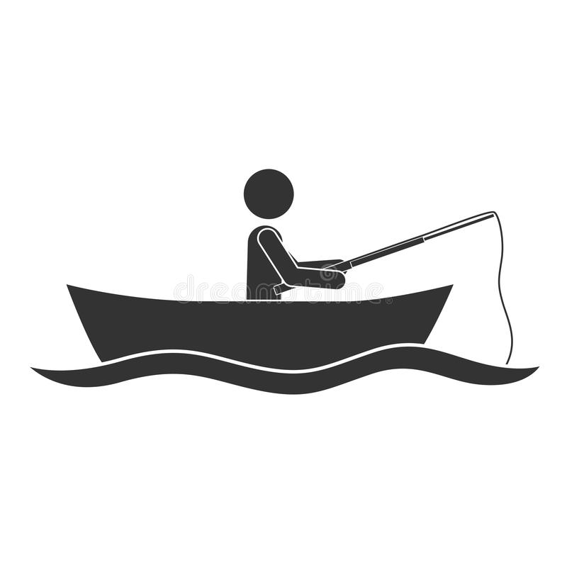 monochrome silhouette with man in boat of fishing stock vector rh dreamstime com boat silhouette clip art