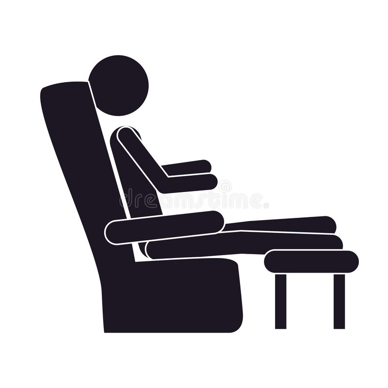 Monochrome silhouette with man in comfortable chair stock illustration