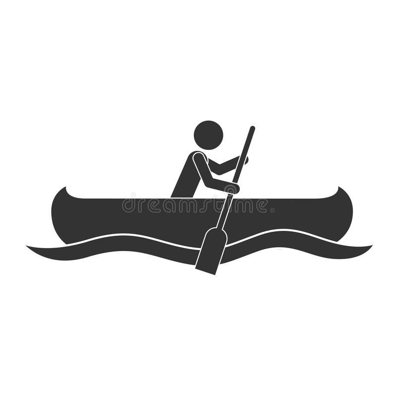 Download Monochrome Silhouette With Man Paddling In Canoe Stock Vector