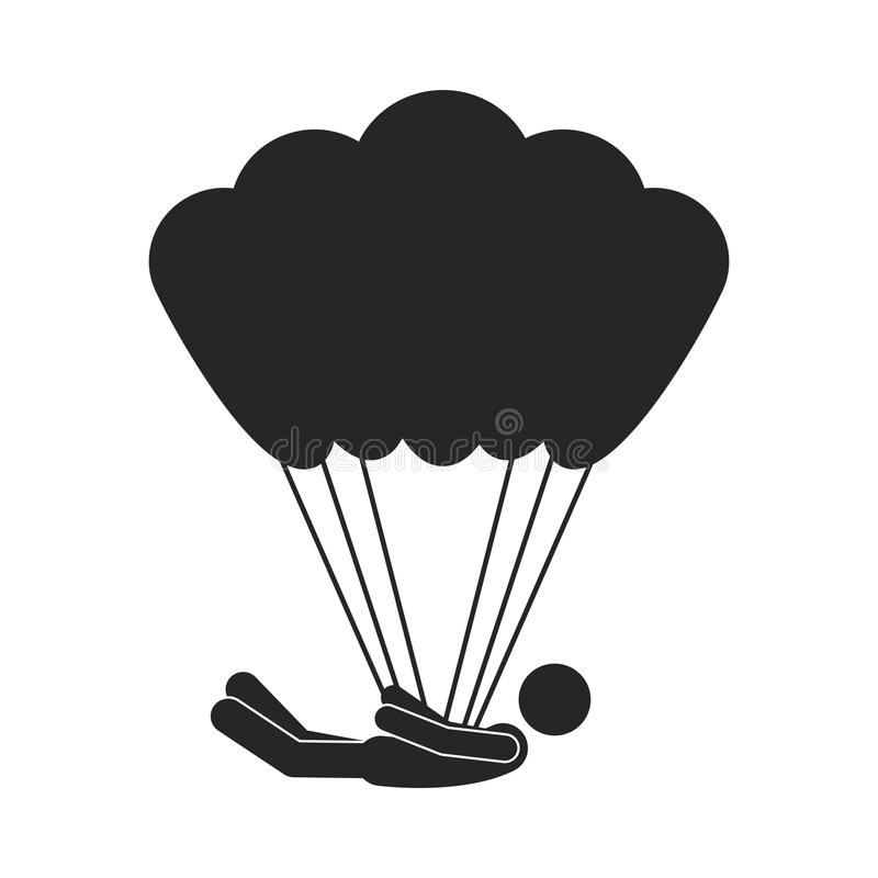 Monochrome silhouette with man position horizontal in parachute vector illustration