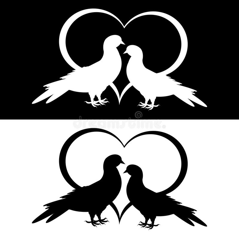 Free Monochrome Silhouette Of Two Doves And A Heart Stock Photography - 33477532