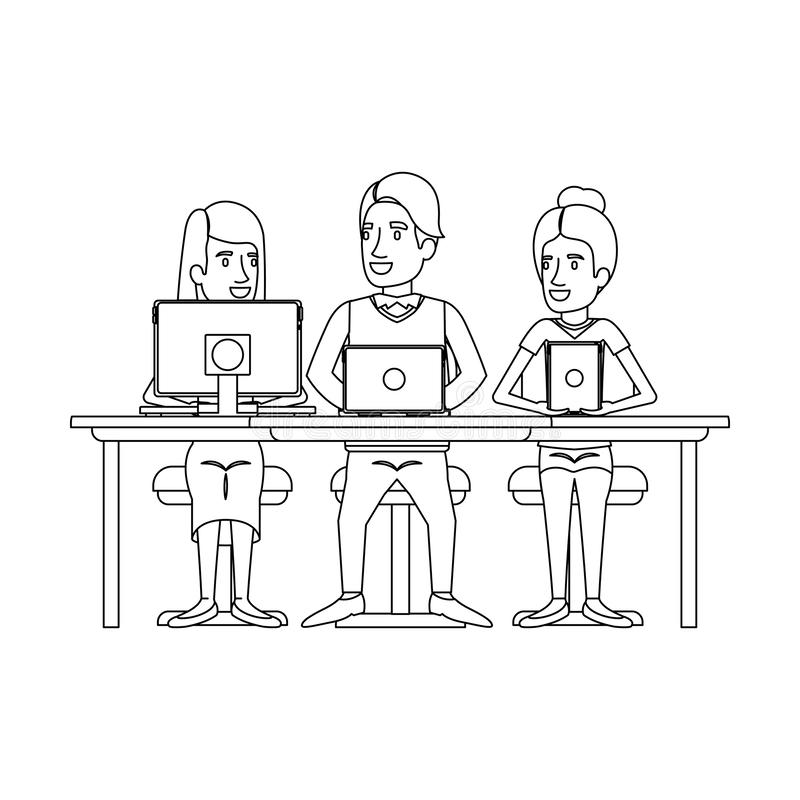 Monochrome silhouette of teamwork sitting in desk with tech devices vector illustration