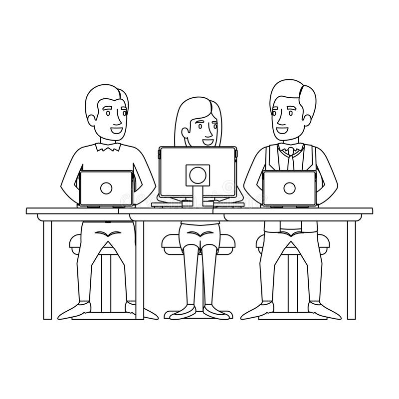 Monochrome silhouette of teamwork of woman and men sitting in desk with tech devices. Vector illustration stock illustration