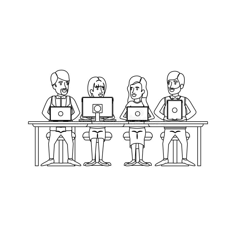 Monochrome silhouette of teamwork of women and men sitting in desk with tech devices. Vector illustration stock illustration
